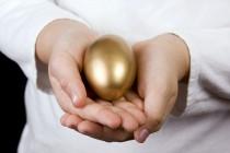 De struisvogel op het gouden ei